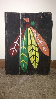Chicago Blackhawks  Pallet Sign  Feathers  Chicago by R2KPallet