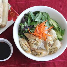 Easy and fast way to make a delicious Vietnamese Dish.  Bun Cha Gio Chay, refreshing and light.