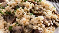 Mushroom risotto is an Italian rice dish often served as an entree. This rich vegetarian recipe is made with white wine, butter, and Parmesan cheese. Italian Rice Dishes, Rice Side Dishes, Vegetarian Side Dishes, Vegetarian Recipes, Healthy Recipes, Creamy Mushrooms, Stuffed Mushrooms, Stuffed Peppers, Mushroom Recipes