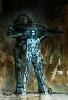 Isaac Hannaford : Halo Master Chief and Cortana Concept Art Master Chief And Cortana, Halo Master Chief, Video Game Art, Video Games, Odst Halo, Cortana Halo, Deco Gamer, Science Fiction, Halo Series