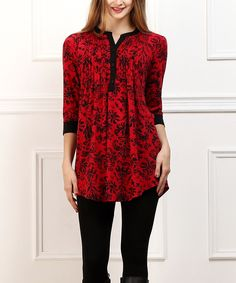 Look at this Red & Black Damask Notch Neck Tunic on #zulily today!