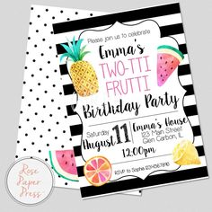 Modern Tutti Frutti / Two-tti Frutti Birthday Party Invitation | Personalized Digital Printable File by RosePaperPress on Etsy
