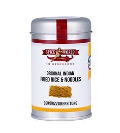FRIED RICE & NOODLES - ORIGINAL INDIAN  Tipp für ein schnelles und leckeres Reis- oder Nudelgericht: Butter in einer Pfanne zergehen lassen und darin 2 TL Reis & Nudel-Gewürz bei kleiner Hitze schwitzen. Danach den gekochten Reis, bzw. die Nudeln hinzugeben und durchschwenken. #worldofasia #asiatisch #matcha #asia #stayspiced #spiceworld Nasi Goreng, Fried Rice Noodles, Thai Curry, When I Grow Up, Chiang Mai, My Tea, Spices, Salt, Low Carb