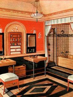 Beautiful Art Deco Interior Design Also Home Design Styles Interior Ideas with Art Deco Interior Design Art Deco Decor, Art Deco Design, Decoration, Vintage Interior Design, Vintage Interiors, Deco Interiors, 1980s Interior, Design Vintage, Vintage Ads