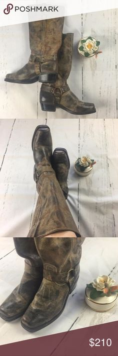 Frye Boot Harness Size 11 Distressed Motorcycle Tall Women's Distressed Brown Motorcycle Boots. Worn Twice. These boots are marbled and distressed to mimic used motorcycle boots. I love the Distressed look but please look at all the pictures so you can see all the nooks and crannies, scratches and marbling. Happy Poshing!!!☘️☘️☘️ Frye Shoes Combat & Moto Boots