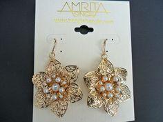 Gold pearl flower earrings by Amrita Singh.  £19.98
