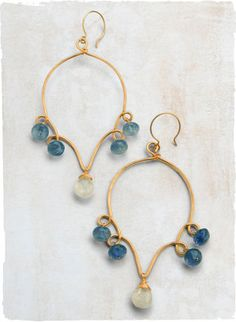 """Delicate scrollwork earrings showcase iolites and a luminous moonstone briolette.        1.875"""" X 3.125""""      14k gold fill, iolite, moonstone        Pierced only      Made in USA"""