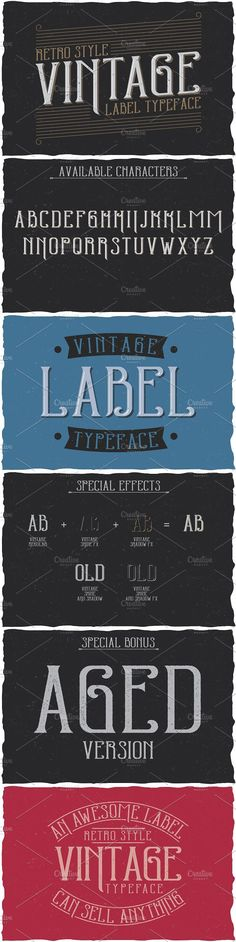 """Here is a classic look label typeface named """"Vintage label"""". It's made in vintage label style. Font is perfect for any labels design. Gothic Fonts, Typographic Design, Vintage Labels, Cool Fonts, Label Design, Classic Looks, Retro Style, Color Change, Retro Fashion"""