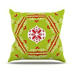 "Kess InHouse Miranda Mol ""Snowjoy Green"" Red Throw Pillow, 18 by 18-Inch Kess InHouse http://www.amazon.com/dp/B00PCF8OJC/ref=cm_sw_r_pi_dp_84Gxub1XHQZKF"