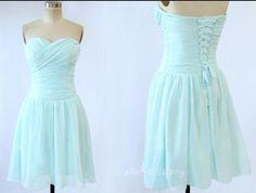 Blue Sweetheart Neck Chiffon Bridesmaid Dress Knee Length Short Corset Prom Dress on Etsy, $96.59 CAD