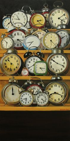 About Time original still life oil painting clocks 40x30 inches by Kim Dow. $3,500.00, via Etsy.