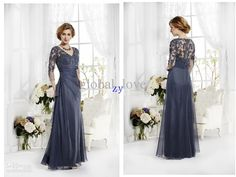 Wholesale- Evening dress Plus size prom gowns 2014 V Neck A line with 3/4 Lace Long sleeves Floor length Chiffon Mother of the Bride Dresses