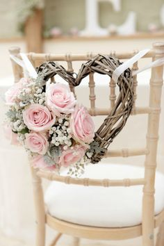 Diy wedding decorations gorgeous wedding chair decorations with pink roses and heart shaped wreath diy wedding . Trendy Wedding, Perfect Wedding, Wedding Day, Wedding Rustic, Budget Wedding, Elegant Wedding, Rustic Weddings, Romantic Weddings, Wedding Vintage