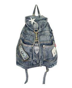 Vintage Diamante Denim Backpack with Patch Decoration - Denim