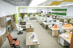 large office workplace with modern office furniture