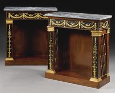 A PAIR OF GILT-BRONZE-MOUNTED EBONY VENEERED AND MAHOGANY CONSOLE TABLES/BIBLIOTHÈQUES BOTH STAMPED JACOB D. R. MESLÉE, THE GILT-BRONZE MOUNTS ATTRIBUTED TO PIERRE-PHILIPPE THOMIRE (1751-1843) EMPIRE, CIRCA 1803-09