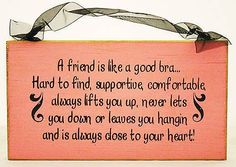 A Friend Is Like A Bra Sign