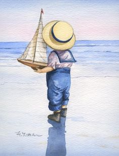 A boy and his new toy sailboat.  Faye Whittaker is the British artist who created such a nostalgic scene.  She was born and brought up in the North of England, in a pretty little coastal town of Southport.  The Edwardian character of the town was to prove a lasting influence on her work as an artist.