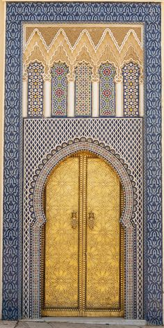 14th century door of King's Palace. Fez Medina, Morocco