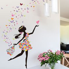 Modern DIY Decorative Mural PVC Girl Butterflies Flower Bedroom Kids Room Wall Sticker For Home Decor Removable Decal Wallpaper Girls Wall Stickers, Removable Wall Stickers, Butterfly Wall Stickers, Wall Stickers Murals, Wall Decals, Decorative Stickers, Room Stickers, Mural Wall Art, Wall Decor