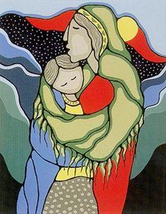 by Daphne Odjig (Odawa-Potawatomi) Inuit Kunst, Art Inuit, Native American Paintings, Native American Artists, Canadian Artists, Kunst Der Aborigines, Daphne Odjig, Claudia Tremblay, Woodland Art