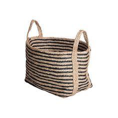 8e2a41d2a Jute Floor Basket Charcoal Stripe Small Storage Baskets ($99) via Polyvore  featuring home,