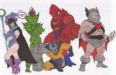my 25th fan art piece to He-man and the Masters of the Universe. here is a little group shot of several villains, some obscure ones. from left is Evil-Lyn, Evil Seed, Strong-arm, Clawful and Batros.