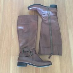 """Nine West Leather Riding Boots Preowned leather riding boots by Nine West. Worn multiple times but very clean. The boots are 15"""" long from heel to top and they have 1"""" heels. Nine West Shoes Heeled Boots"""