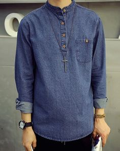 Slimming Stand Collar Button and Pocket Long Sleeve Denim Shirt For Men
