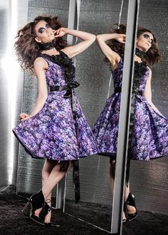 LOOK 4: lilac print cocktail dress with flower petal decoration