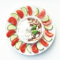 """""""High protein snack! Cottage cheese and canned tuna with veggies!"""""""