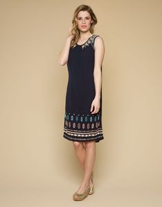 Monsoon Elodie Embellished Dress Embroidered Navy Tunic (Lucy)
