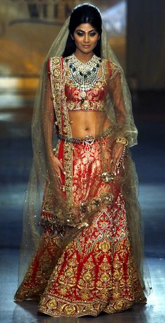 Red & gold lehnga