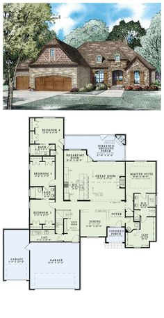 Cool house plan id chp 49911 total living area 3766 sq for Brick garage plans