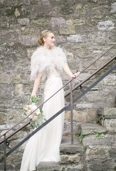 feather bolero and white gown | Photo by Jeremy Harwell