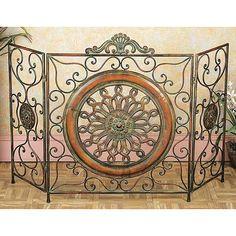 Mediterranean Antiqued Metal Fireplace Screen
