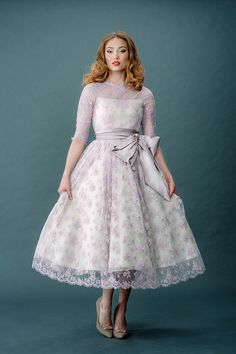 Lavender Wedding Gown - Joanne Fleming Femme Fatale and French Fancies Vintage Inspired Wedding Dresses Lavender Wedding Dress, Wedding Dress Organza, Tea Length Wedding Dress, Tea Length Dresses, Vintage Inspired Wedding Dresses, Colored Wedding Dresses, Best Wedding Dresses, Vintage Dresses, Wedding Gowns