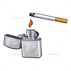 Silver Metal Lighter and Burning Cigarette