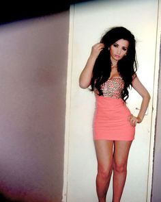 coral studded boob dress for a night out clubbing