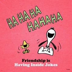 Friendship is having inside jokes / The Peanuts Gang / Snoopy and Woodstock Meu Amigo Charlie Brown, Charlie Brown And Snoopy, Peanuts Cartoon, Peanuts Snoopy, Snoopy Cartoon, Snoopy Comics, Peanuts Comics, Hahaha Hahaha, Snoopy Pictures