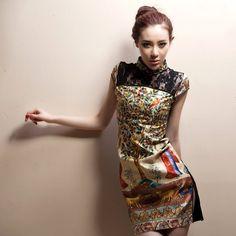 Flowing Glory. Chinese Antique Style Modified Silk Cheongsam Qipao Dress