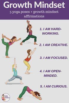 Reinforce growth mindset by practicing daily affirmations through yoga poses. 5 yoga poses with 5 growth mindset mantras included. Kids Yoga Poses, Yoga For Kids, Exercise For Kids, Physical Exercise, Ashtanga Yoga, Kundalini Yoga, Yoga Inspiration, Pranayama, Yoga Meditation
