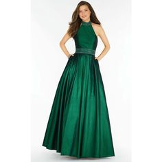 Alyce 6731 Prom Long Dress Long Halter Sleeveless ($376) ❤ liked on Polyvore featuring dresses, gowns, emerald, formal dresses, green prom dresses, emerald green ball gown, emerald green gown, emerald green evening gown and prom dresses