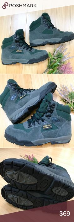 VASQUE hiking boots, women's 6.5. Vasque 7475 Green and gray hiking boots, size women 6.5. Gently used a single time, still in like brand new condition. Gore-tex, waterproof, rugged. These boots are really nice! Vasque Shoes Ankle Boots & Booties