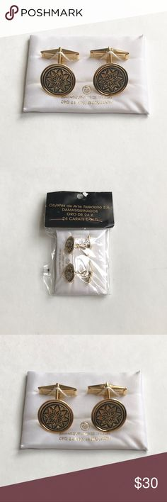 """💕NWT 24K Gold Plated Cufflinks from Spain Gorgeous Spanish gold cuff links, gold plated with black inlay designs. Approximately 5/8"""" diameter round piece. Accessories Cuff Links"""