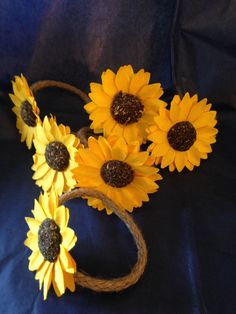 Excited to share this item from my #etsy shop: Sunflower Napkin Rings - Table Decor - Flatware and Napkin Holders - Party Decor