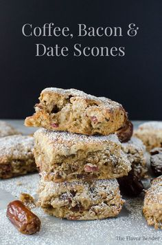 Tender, moist and buttery, Coffee, Bacon & Date scones with coffee infused dates. Delicious breakfast scones to be enjoyed with a hot mug of coffee! Coffee Recipes, Brunch Recipes, Dessert Recipes, Scone Recipes, Breakfast Recipes, Brunch Ideas, Sweet Recipes, Yummy Recipes, Baking Recipes