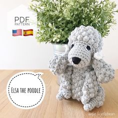 "Excited to share this item from my #etsy shop: AMIGURUMI PATTERN/ tutorial (English/Español) Amigurumi Poodle Dog - ""Elsa the Poodle Puppy"" pdf - US terminology Elsa, Half Double Crochet, Single Crochet, Bulldogs, Yarn Dolls, Crochet Abbreviations, Doll Eyes, Dog Pattern, Types Of Yarn"
