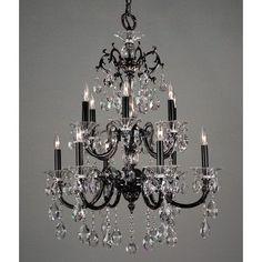 Classic Lighting Via Lombardi 12 Light Crystal Chandelier Crystal Type: Swarovski Elements, Finish: Millenium Silver