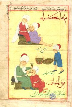 A hand-illustrated page of  two Ottoman Turk  dentists and patients.  An assistant is working bellows.  Note the use of a bow-drill in the lower figures.  The turbans are magnificent...very decorative facsimile!